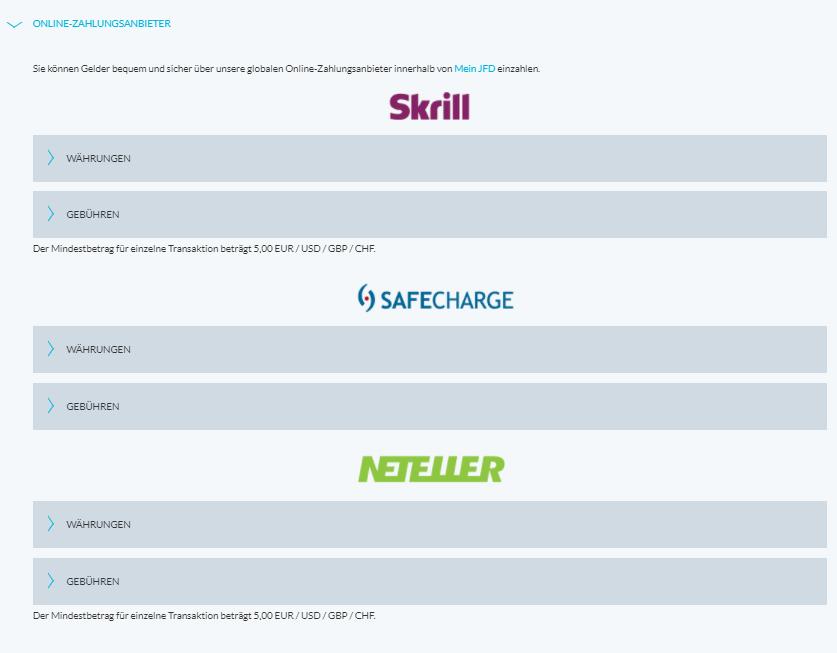 JFD Bank Skrill, Neteller und SafeCharge