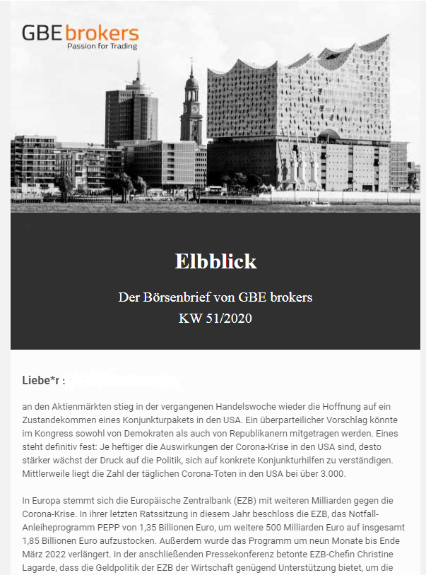 Elbblick Börsenbrief von GBE Brokers
