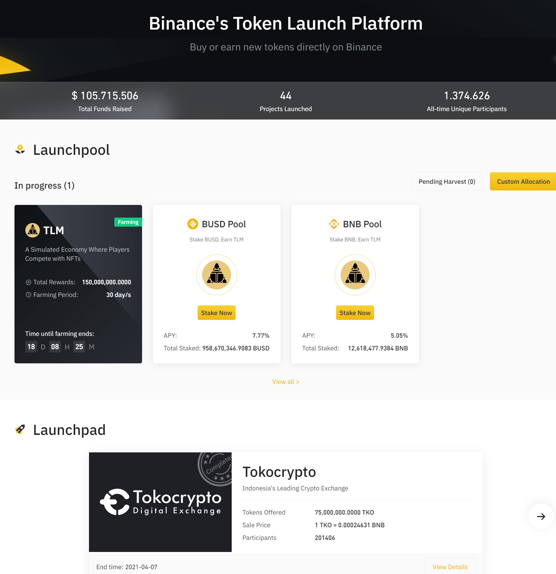 Binance Launch Plattform
