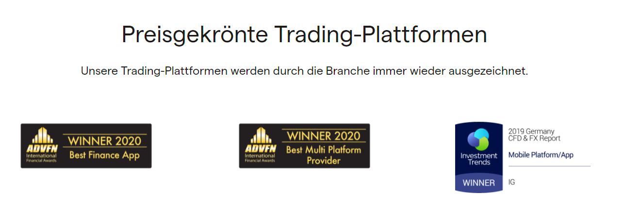 IG Markets Auszeichnungen