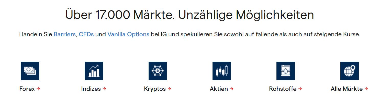 IG Markets handelbare Instrumente