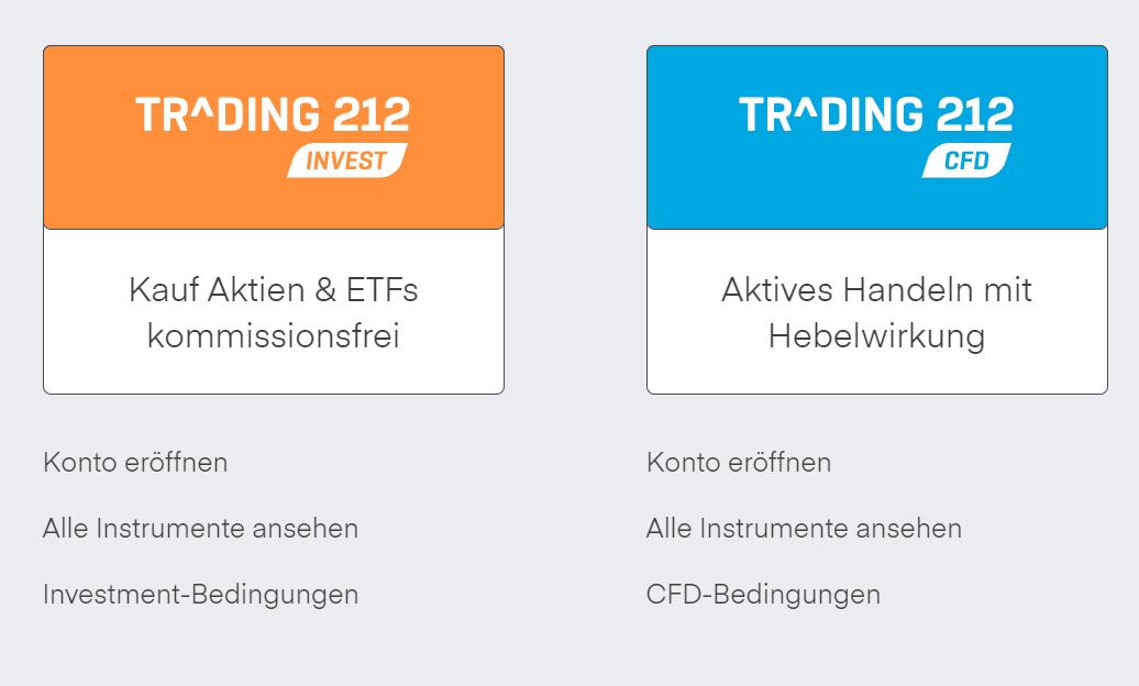 Trading 212 Konto Arten