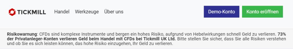 Tickmill Risikohinweis